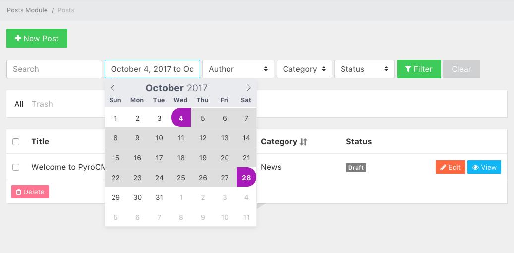 Datetime Field Type Filter